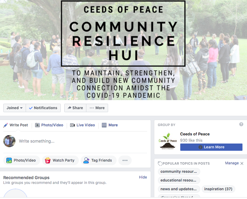 Screenshot of Community Resilience Hui Facebook group page